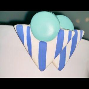 Vintage Teal & Blue Stud Earrings